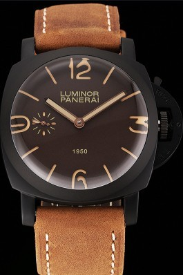 Swiss Panerai Luminor 1950 Brown Dial Black PVD Case Brown Suede Leather Strap 1453848 Panerai Luminor Replica