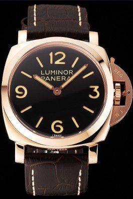 Swiss Panerai Luminor Black Dial Rose Gold Case Brown Leather Strap 1453842 Panerai Luminor Replica