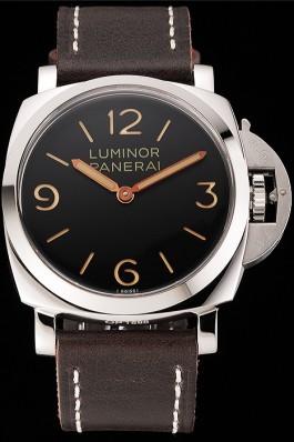 Swiss Panerai Luminor Black Dial Stainless Steel Case Brown Leather Strap 1453854 Panerai Luminor Replica
