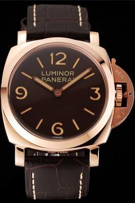 Swiss Panerai Luminor Brown Dial Rose Gold Case Brown Leather Strap 1453841 Panerai Luminor Replica