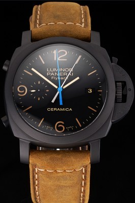 Swiss Panerai Luminor Ceramica Flyback Chronograph Black Dial Black Case Brown Leather Strap Panerai Luminor Replica