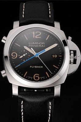 Swiss Panerai Luminor Flyback Chronograph Black Dial Stainless Steel Case Black Leather Strap Panerai Luminor Replica