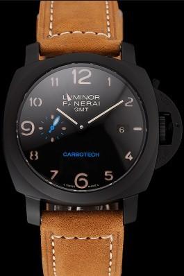 Swiss Panerai Luminor GMT Carbotech Black Dial Black Case Brown Leather Strap Panerai Luminor Replica