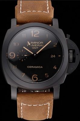 Swiss Panerai Luminor GMT Ceraica Black Dial Black Case Brown Leather Strap Panerai Luminor Replica