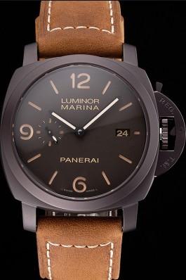 Swiss Panerai Luminor Marina 1950 3 Days Brown Dial Black Case Brown Leather Strap Panerai Luminor Replica