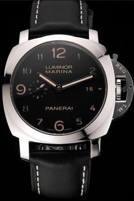 Swiss Panerai Luminor Marina 1950 3 Days Brown Dial Stainless Steel Case Black Leather Strap Panerai Luminor Replica