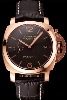 Swiss Panerai Luminor Marina 1950 3 Days Oro Rosso Brown Dial Rose Gold Case Brown Leather Strap Panerai Luminor Replica