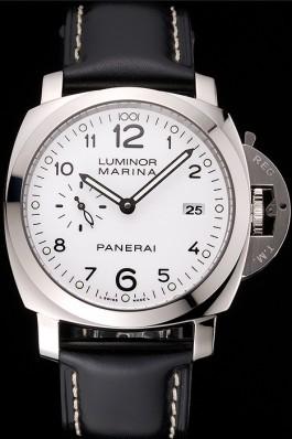 Swiss Panerai Luminor Marina 3 Days White Dial Stainless Steel Case Black Leather Strap Panerai Luminor Replica