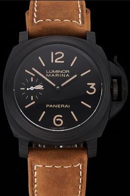 Swiss Panerai Luminor Marina Black Dial Black Case Brown Leather Strap Panerai Luminor Replica