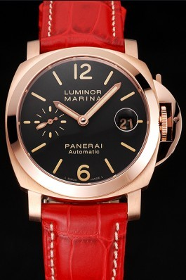 Swiss Panerai Luminor Marina Black Dial Rose Gold Case Red Leather Strap Panerai Luminor Replica