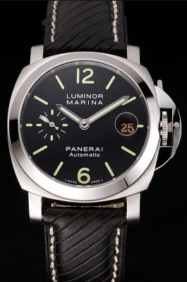 Swiss Panerai Luminor Marina Black Dial Stainless Steel Case Black Leather Strap  Panerai Luminor Replica