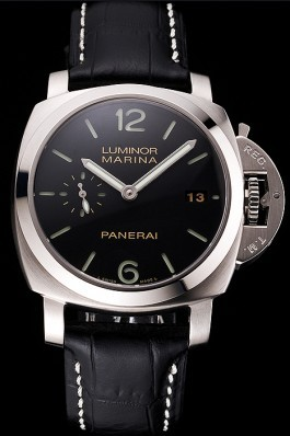 Swiss Panerai Luminor Marina Date Black Dial Stainless Steel Case Black Leather Strap Panerai Luminor Replica