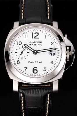 Swiss Panerai Luminor Marina White Dial Stainless Steel Case Black Leather Strap  Panerai Luminor Replica