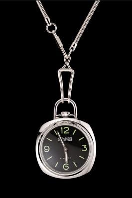 Swiss Panerai Luminor Pocket Watch Black Dial Stainless Steel Case And Chain 1453743 Panerai Luminor Replica