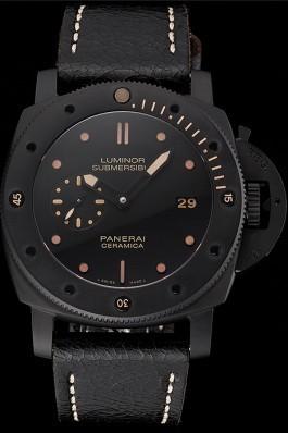 Swiss Panerai Luminor Submersible 3 Days Black Dial Black Case Black Leather Strap Panerai Luminor Replica