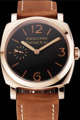 Swiss Panerai Radiomir 1940 Black Dial Rose Gold Case Brown Suede Leather Strap 1453844 Panerai Replica Watch