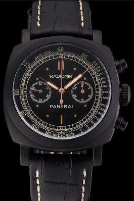 Swiss Panerai Radiomir 1940 Chronograph Black Dial Black Ionized Case Black Leather Strap Panerai Replica Watch