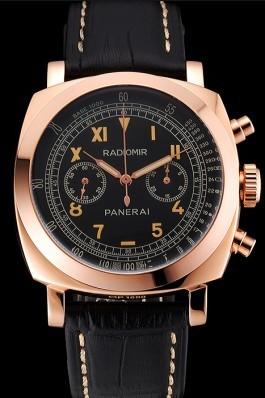 Swiss Panerai Radiomir 1940 Chronograph Black Dial Rose Gold Case Black Leather Strap Panerai Replica Watch