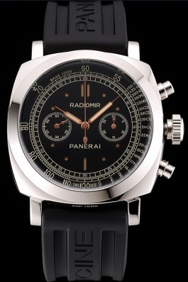 Swiss Panerai Radiomir 1940 Chronograph Black Dial Stainless Steel Case Black Rubber Strap Panerai Replica Watch