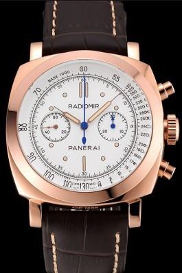 Swiss Panerai Radiomir 1940 Chronograph White Dial Rose Gold Case Brown Leather Strap Panerai Replica Watch