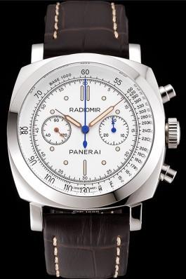 Swiss Panerai Radiomir 1940 Chronograph White Dial Stainless Steel Case Brown Leather Strap Panerai Replica Watch
