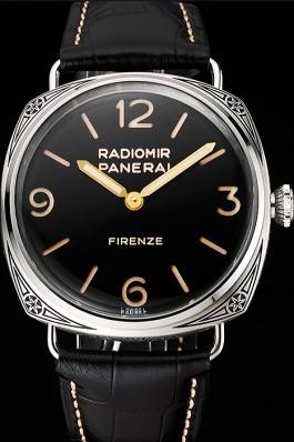 "Swiss Panerai Radiomir 3 Days Acciaio ""Firenze"" Black Dial Stainless Steel Case Black Leather Strap Panerai Replica Watch"
