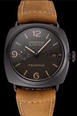 Swiss Panerai Radiomir Black Seal Brown Dial Black Case Brown Leather Strap Panerai Replica Watch