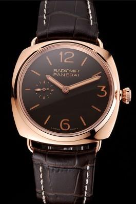 Swiss Panerai Radiomir Oro Rosso Brown Dial Rose Gold Case Brown Leather Strap Panerai Replica Watch