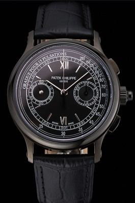 Swiss Patek Philippe 5170J Chronograph Black Dial Black Case Black Leather Strap Fake Patek Philippe