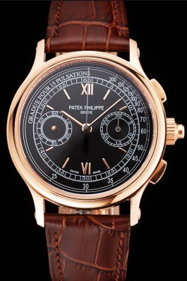 Swiss Patek Philippe 5170J Chronograph Black Dial Rose Gold Case Brown Leather Strap Fake Patek Philippe