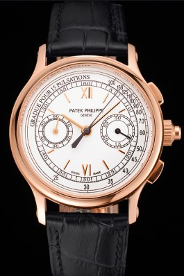 Swiss Patek Philippe 5170J Chronograph White Dial Rose Gold Case Black Leather Strap Fake Patek Philippe