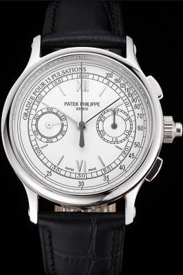 Swiss Patek Philippe 5170J Chronograph White Dial Stainless Steel Case Black Leather Strap Fake Patek Philippe
