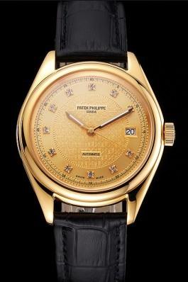 Swiss Patek Philippe Calatrava Gold Dial Diamond Markings Gold Case Black Leather Strap Aaa Grade Patek Philippe Replica