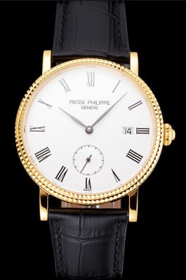 Swiss Patek Philippe Calatrava White Dial Gold Case Fluted Bezel Black Leather Strap Aaa Grade Patek Philippe Replica