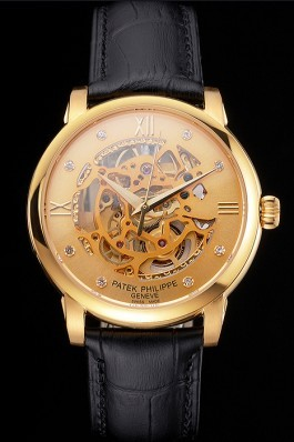 Swiss Patek Philippe Complications Openworked Dial Gold Case Black Leather Strap Fake Patek Philippe