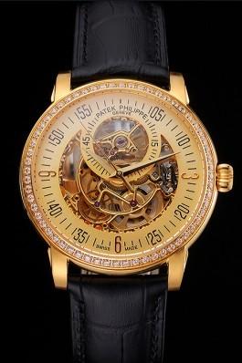 Swiss Patek Philippe Complications Openworked Dial Gold Case Diamond Bezel Black Leather Strap Fake Patek Philippe