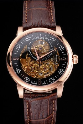 Swiss Patek Philippe Complications Openworked Dial Rose Gold Case Brown Leather Strap Fake Patek Philippe