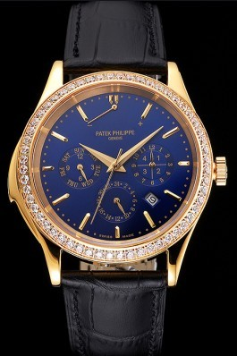 Swiss Patek Philippe Grand Complications Perpetual Calendar Blue Dial Gold Case Diamond Bezel Black Leather Strap Fake Patek Philippe