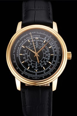 Swiss Patek Philippe Multi-Scale Chronograph Black Dial Gold Case Black Leather Strap Fake Patek Philippe