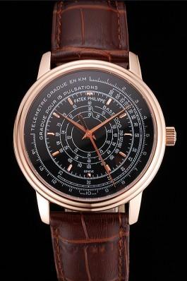 Swiss Patek Philippe Multi-Scale Chronograph Black Dial Rose Gold Case Brown Leather Strap Fake Patek Philippe