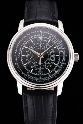 Swiss Patek Philippe Multi-Scale Chronograph Black Dial Stainless Steel Case Black Leather Strap Fake Patek Philippe