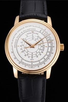 Swiss Patek Philippe Multi-Scale Chronograph White Dial Gold Case Black Leather Strap Fake Patek Philippe