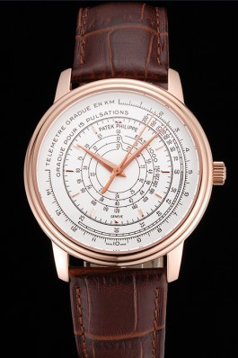 Swiss Patek Philippe Multi-Scale Chronograph White Dial Rose Gold Case Brown Leather Strap Fake Patek Philippe