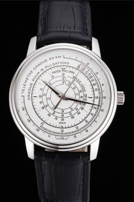 Swiss Patek Philippe Multi-Scale Chronograph White Dial Stainless Steel Case Black Leather Strap Fake Patek Philippe