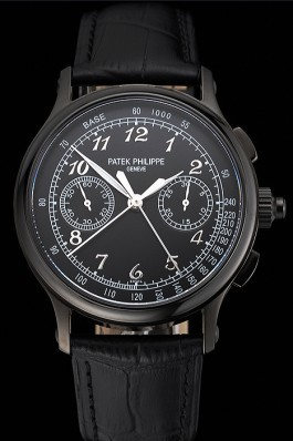 Swiss Patek Philippe Split Seconds Chronograph Black Dial Black Case Black Leather Strap Fake Patek Philippe