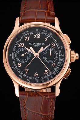 Swiss Patek Philippe Split Seconds Chronograph Black Dial Rose Gold Case Brown Leather Strap Fake Patek Philippe