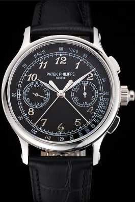 Swiss Patek Philippe Split Seconds Chronograph Black Dial Stainless Steel Case Black Leather Strap Fake Patek Philippe