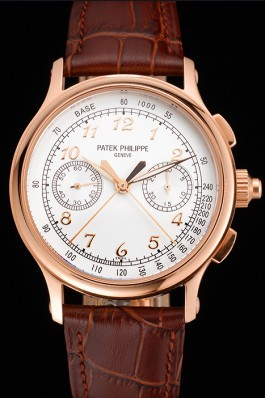 Swiss Patek Philippe Split Seconds Chronograph White Dial Rose Gold Case Brown Leather Strap Fake Patek Philippe