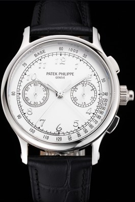 Swiss Patek Philippe Split Seconds Chronograph White Dial Silver Numerals Stainless Steel Case Black Leather Strap Fake Patek Philippe