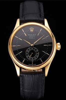 Swiss Rolex Cellini Black Dial Gold Case Black Leather Strap Replica Rolex